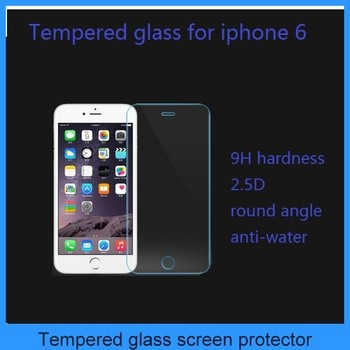 hot selling tempered glass screen protector for iphone 6 round angle 2.5D 9H hardness 0.26mm good qualtity