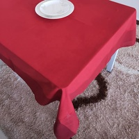 Solid Red Color Table Cloth for Rectangle Table Decorative Cloths with Delicate Cloths Edge Made by China BSCI Audit Factory