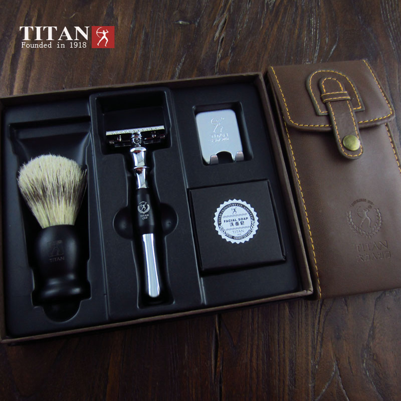 Titan Shaving Set,Metal Handle Double Edge Safety Razor With Brush Shaving  Kit Shaving Mens Razor - Buy Double Edge Blade Metal Shaving Razor,Double