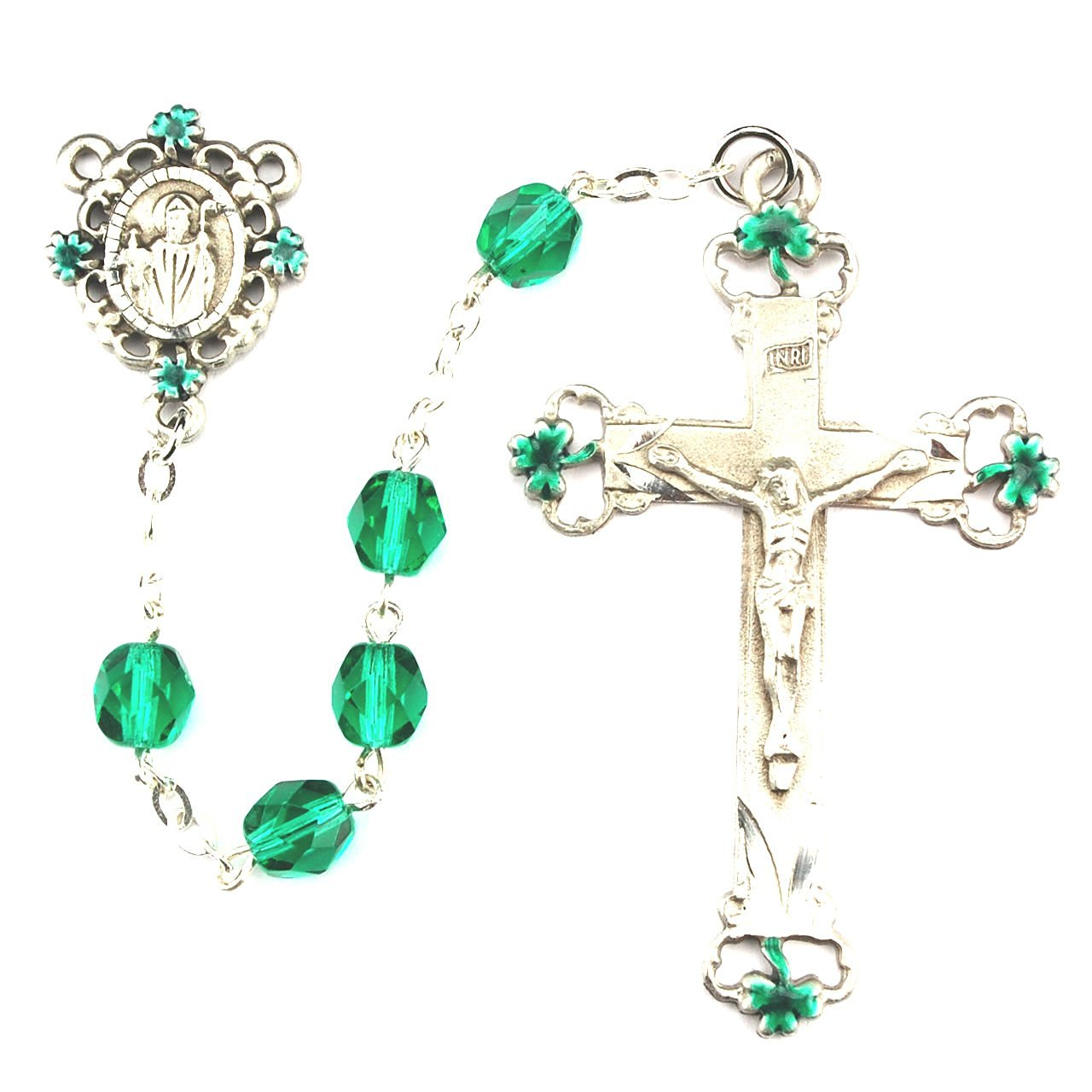 Green and Black St. Patrick Irish Catholic Rosary Beads - 7mm Green and Black Glass Beads and a New England Pewter Crucifix and St. Patrick Centerpiece with Green Enameled Shamrocks on the Crucifix and Centerpiece.