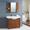 New arrival oak solid wood bathroom furniture with shelf mirred cabinet floor mounted