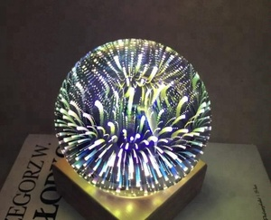 2018 New Fireworks 3D LED Magic Glass Ball Night Light