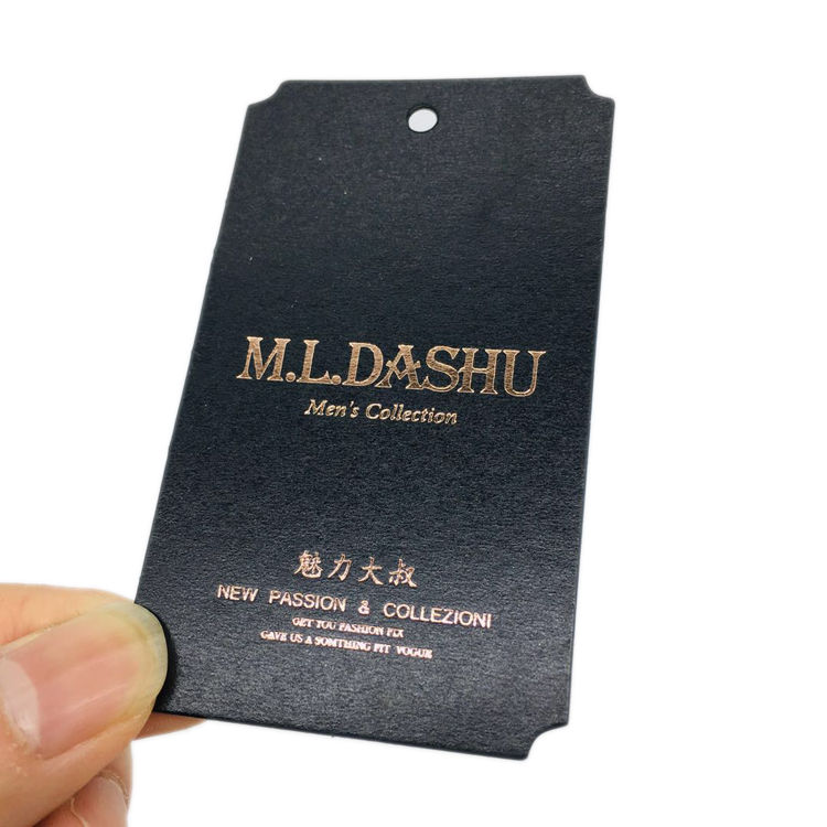 Hangtag Maker Custom Spot UV Printing Brand Logo Swing Recycled Black Paper Cardboard Hang Tags for Apparel