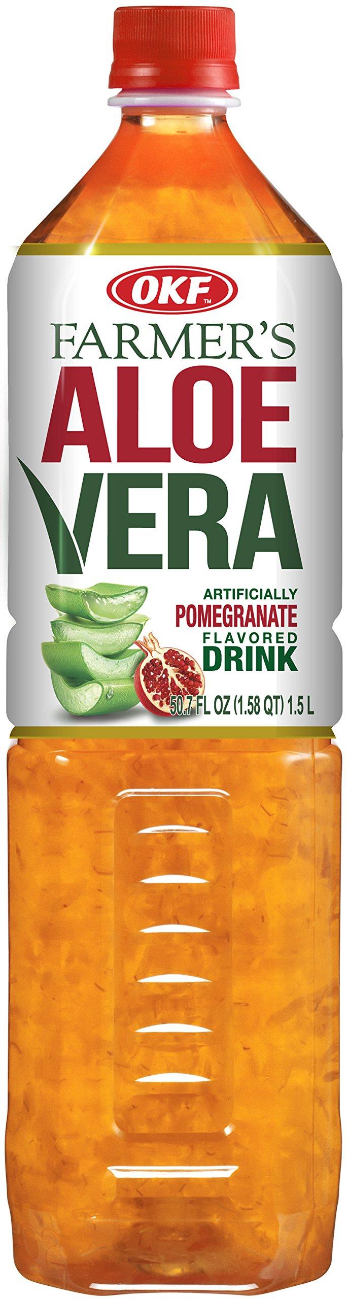 OKF Farmer's Aloe Vera Drink Pomegranate, 50.7 Fluid Ounce (Pack of 12)
