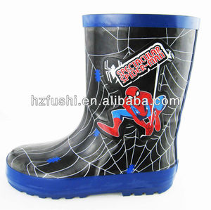 Cool Spider Man Printed Boys Rubber Rain Boots