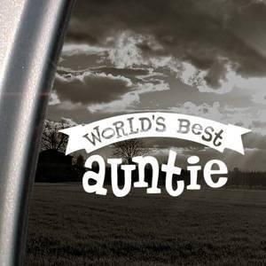Worlds Best Auntie White Sticker Decal Art Bumper Laptop White Sticker Decal