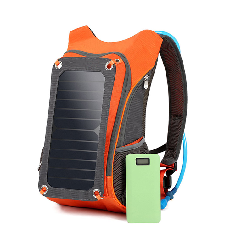 Solar Backpack 7W Solar Panel 2L Hydration Pack Camping Hiking Portable Travel Sun Charger