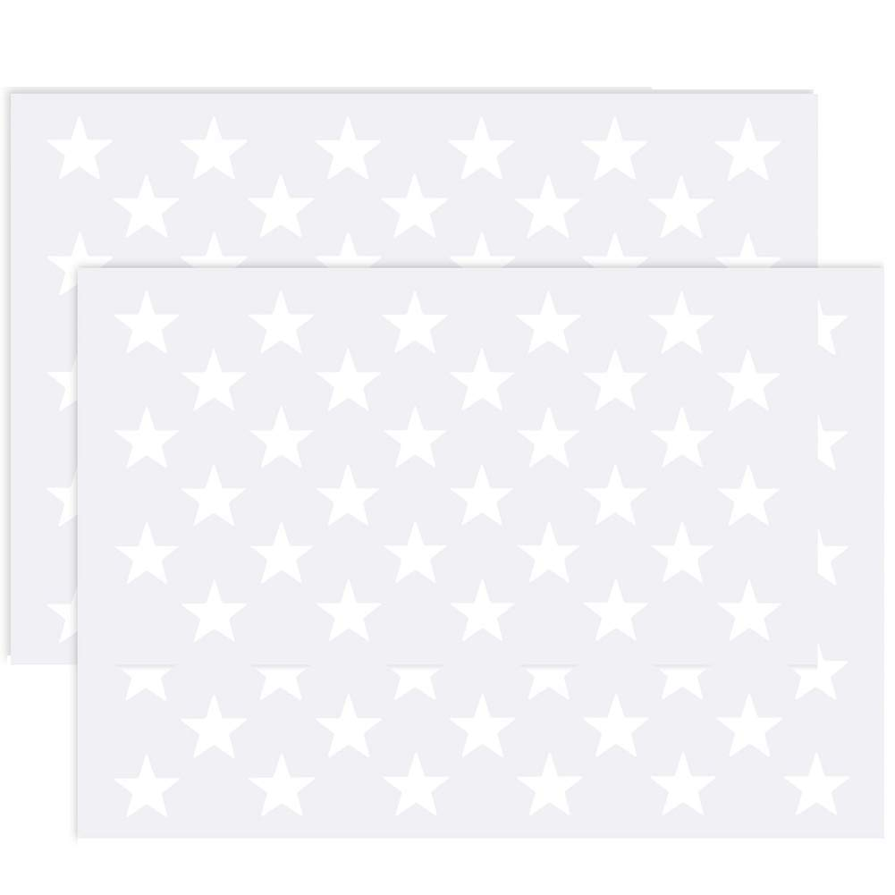 "2 Pack American Flag 50 Star Stencil Template for Painting Crafts on Wood, Paper, Fabric, Glass, and Wall Art, 10.5"" x 14.82"""
