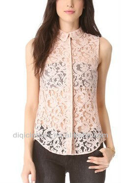 Victoria Lace Sweet Blouse Top Women Apparel See Through Tank Lace Custom 2014