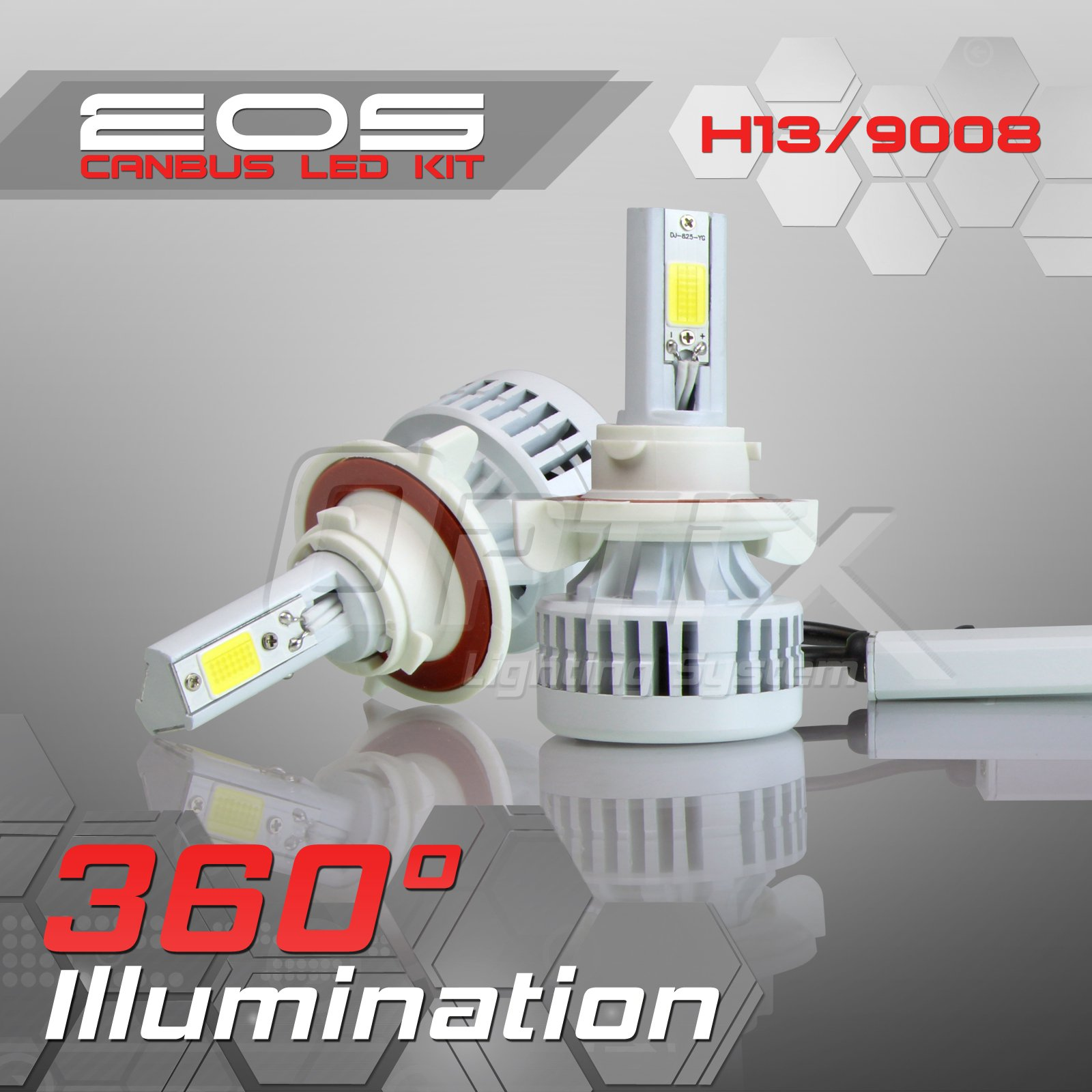 Optix 80W 8000LM LED Headlight Conversion Kit - H13 9008 Dual High/Low Beam Bulbs - 6000K 6K Diamond White - Premium Epistar COB Chip - Canbus Chip Error Free No Flicker Plug and Play Design