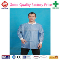 disposable SMS lab jacket with knitted collar