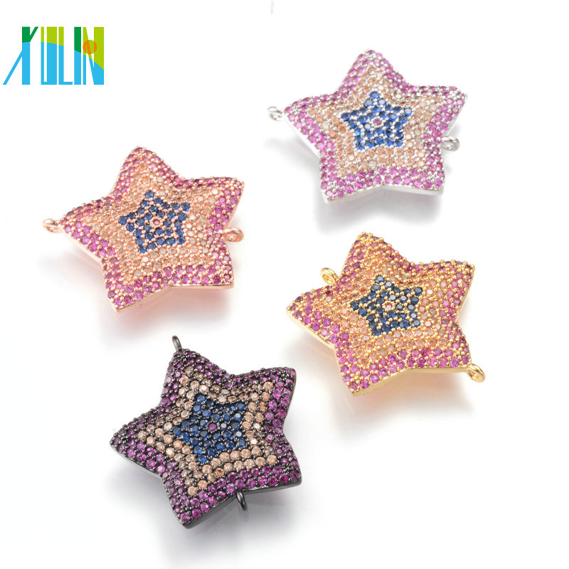 XULIN Wholesale New Design Star Shape Micro Pave Charm DIY Jewelry Makining