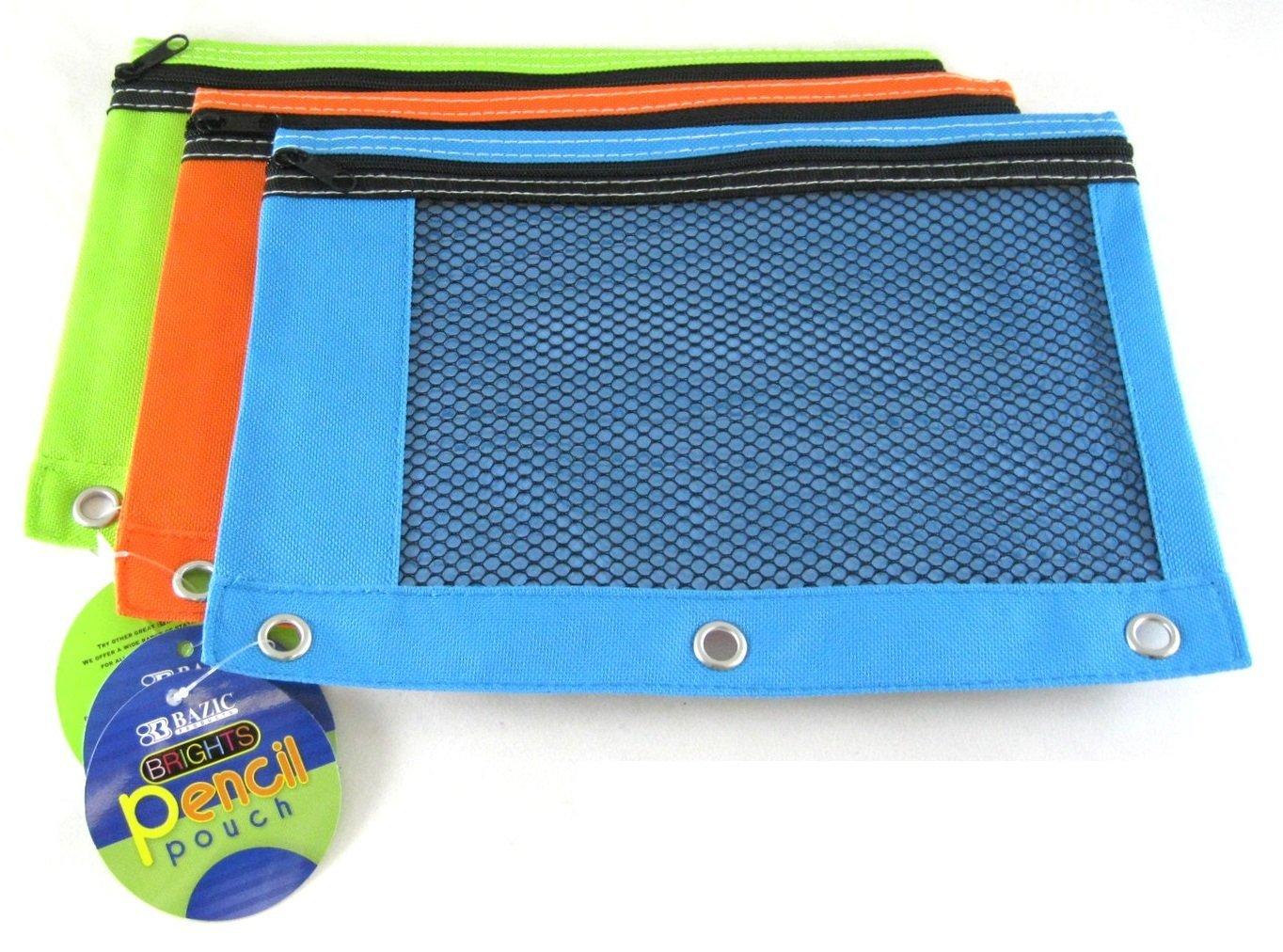 3 Pk, BAZIC Bright Color 3-Ring Pencil Pouch-Mesh Window, Boys