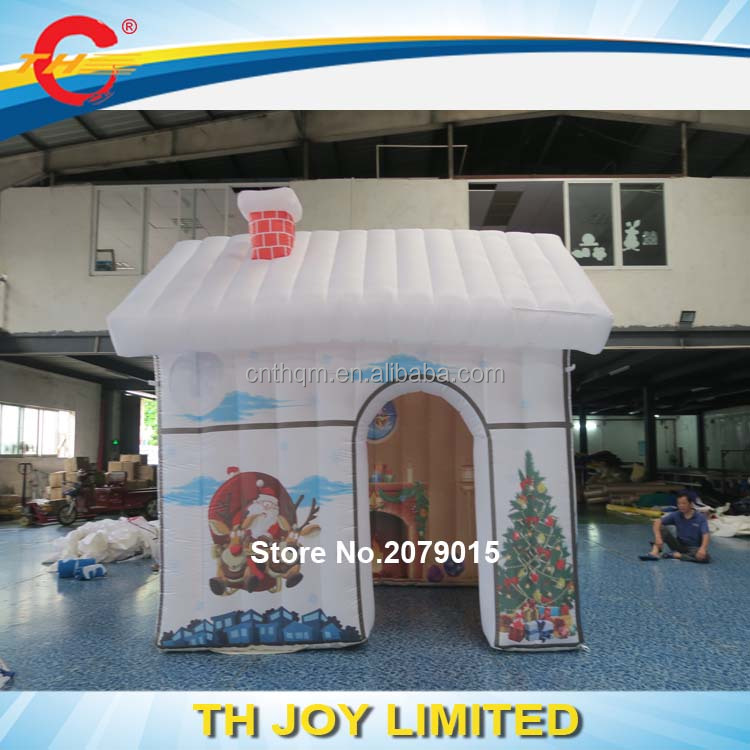 3x3m(10x10ft) Christmas house/inflatable white tent/ outdoor decoration Santa Claus house inflatable