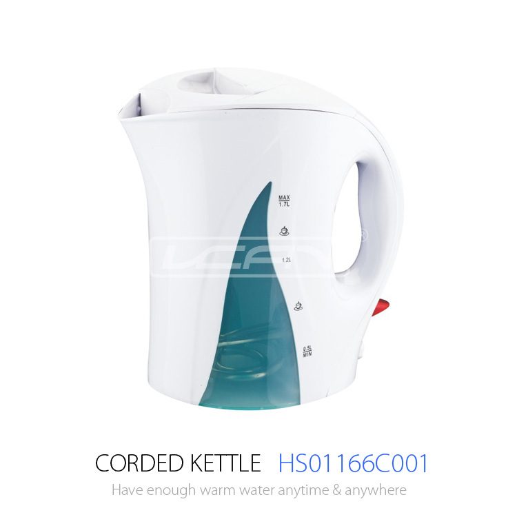 Unique designed electric plastic kettle with melamine tray set for hotel guest room
