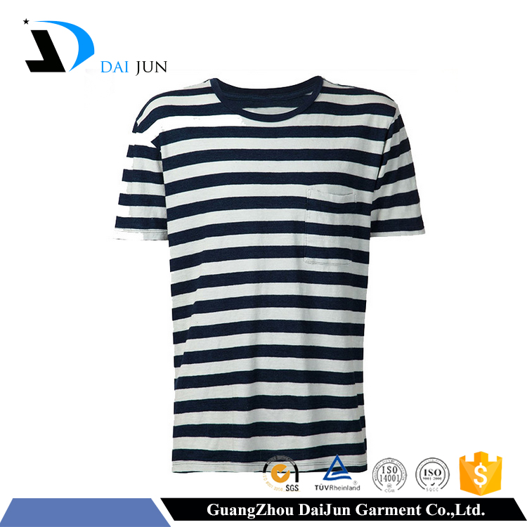 black and white striped factory price private label t-shirt manufacturer