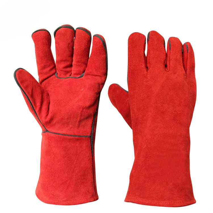 Jespai Factory Red Long Gloves Industrial Work Hand Leather Welding Gloves