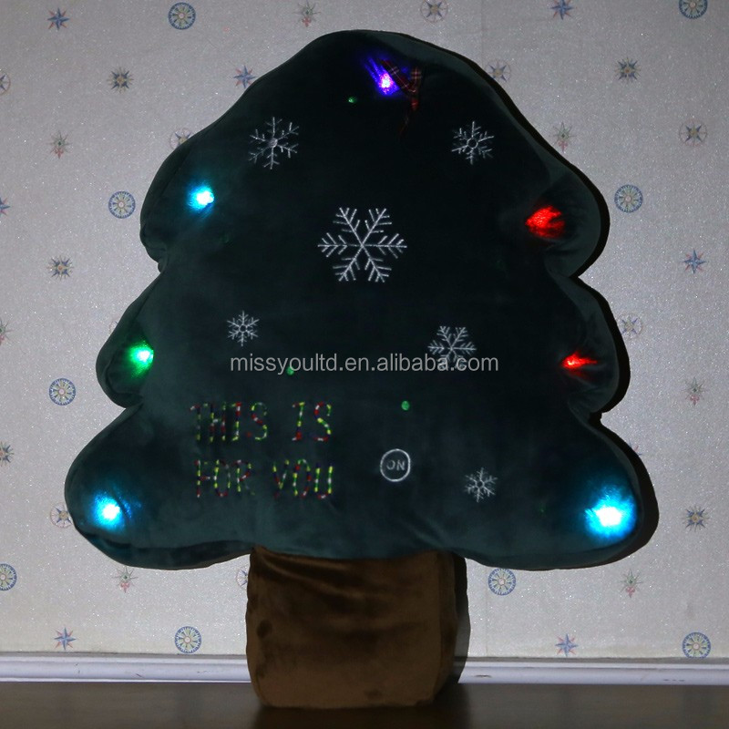 Custom Christmas Tree Led Light Pillow