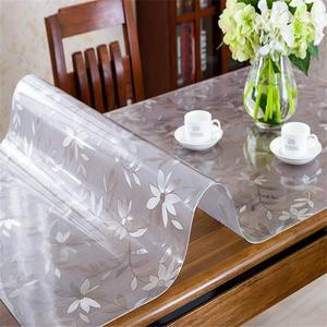 Floral Textured Finish Table Top Protector;Plastic Tablecloth Kitchen Dining Room Wood Furniture Protective PVC Table Cover