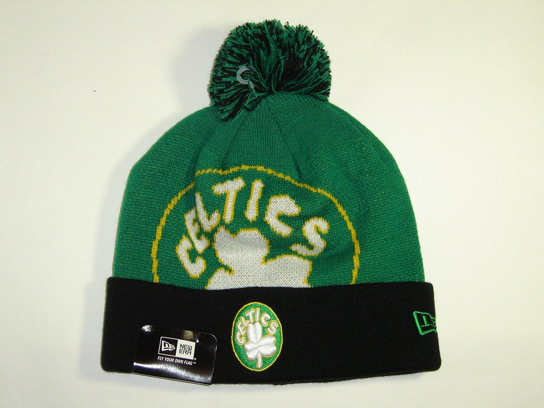 9eab65c52ba New Era NBA Boston Celtics 2 Tone Cuffed Retro Knit Beanie Cap with Pom  NewEra