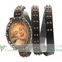 New arrival antique flip watch leather wrap bracelet watch for ladies