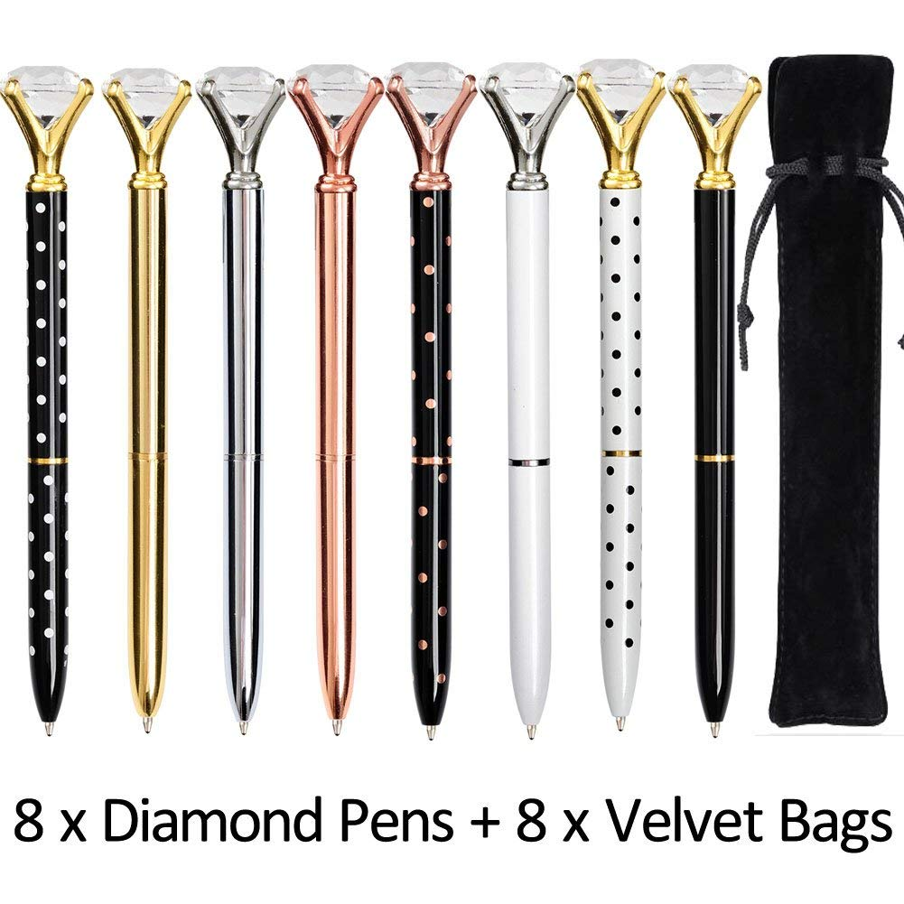 8709e19b1 8PCS Big Crystal Diamond Pens - Beatiful Bling Metal Ballpoint Pen for Women