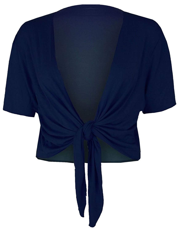 FASHION FAIRIES Ladies Cap Sleeve Tip up Front Bolero Shrug Womens Plain Cropped Cardigan Top