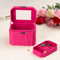 Small Lockable Travel Jewelry case/Organizer, Octagonal Shape, Makeup and Accessories Storage Organizer