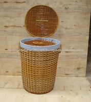 Rattan waste bin with lid, round waste bin, handicraft items