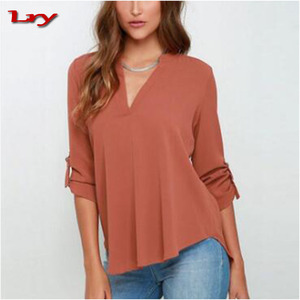 European Fashion V-Neck Loose Lady Clothes Printed Big Size Chiffon Women Blouse