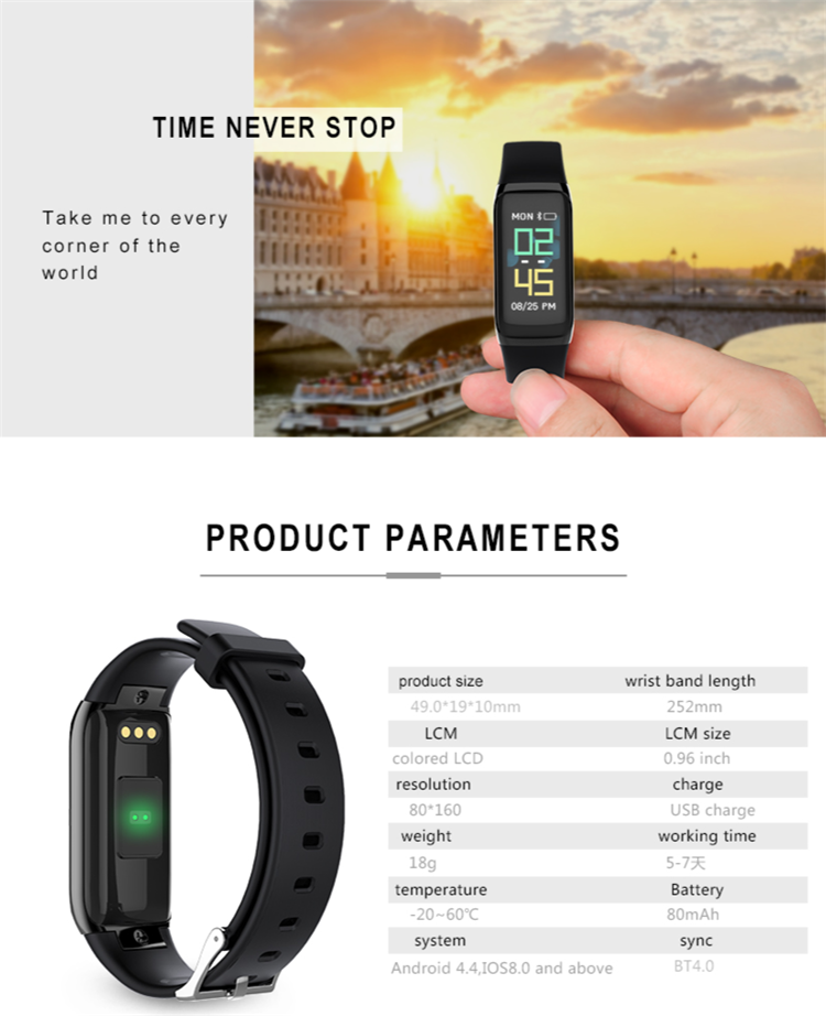 Blood pressure watch BY21S Heart Rate Monitor Smart Bracelet oem smart watch For Android IOS Phone