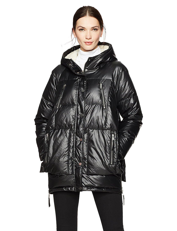 YUSKYWomen Faux Shearling Waterproof Mid Long Hooded Puffy Jacket