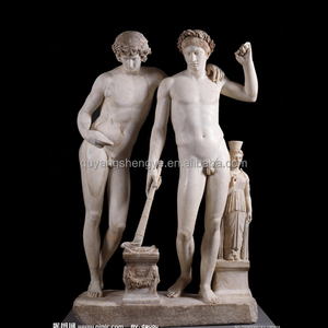 Ancient Greek Nude Man Marble Statue Sculpture