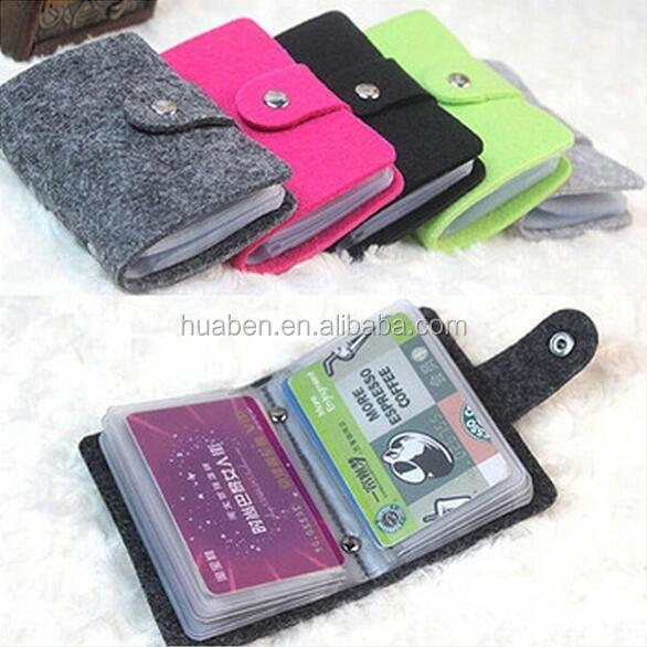 Wool-felt Luxury ID credit card holder organizer 24 card pocket