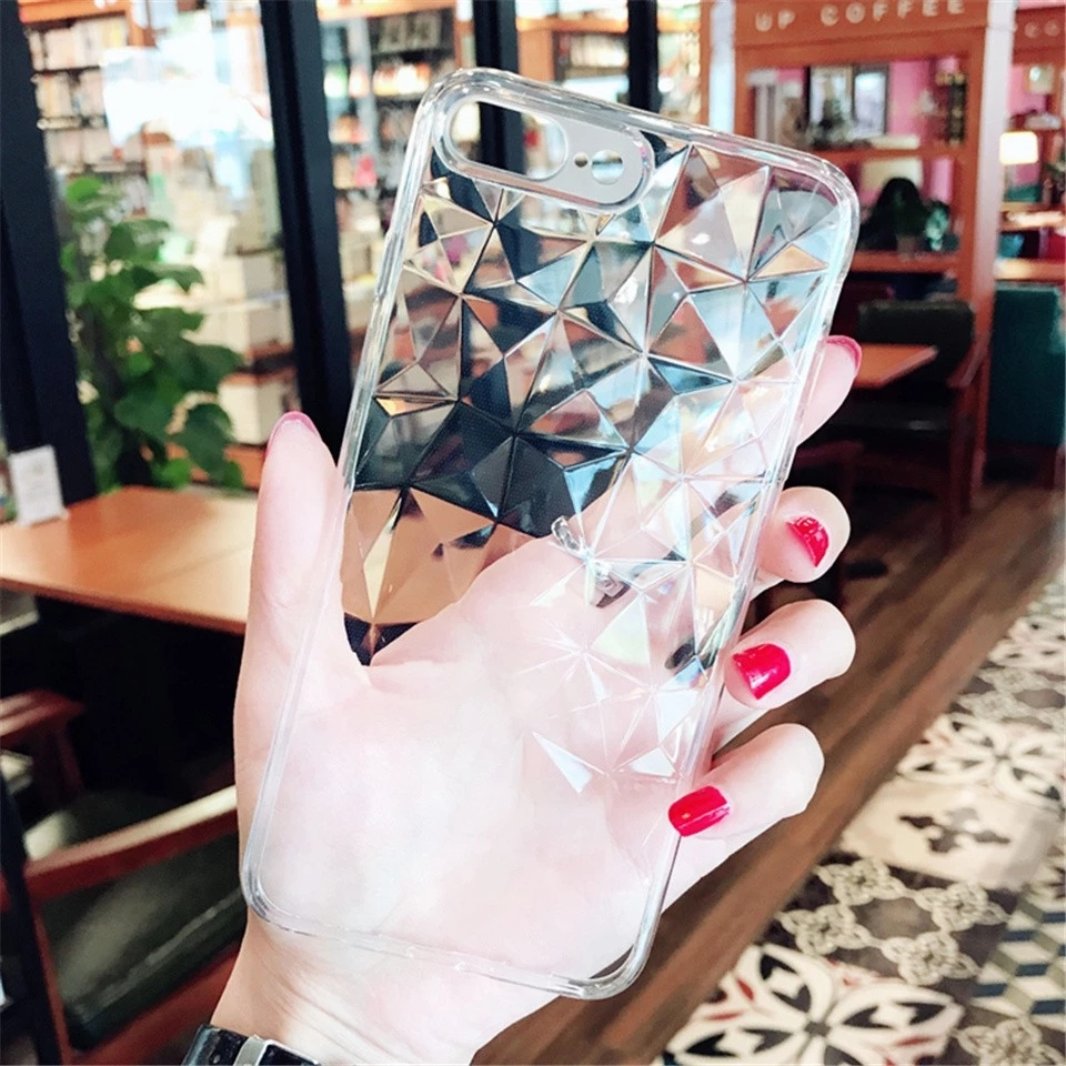 LOVEBAY Luxury 3D Diamond Texture Clear Phone Case for iPhone X XR XS Max Soft Transparent Case Cover for iPhone 8 7 6s Plus фото
