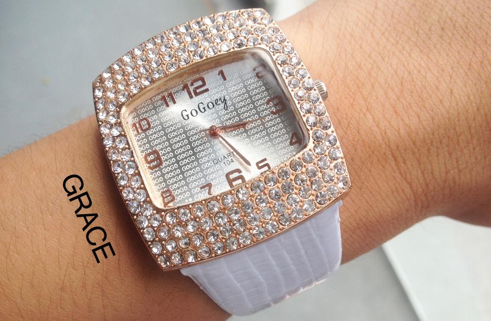 Алмаз горный хрусталь большой циферблат GoGoey марка популярных часы женщины роскошные ну вечеринку мода свободного покроя кварцевые наручные часы кожа Montre роковой