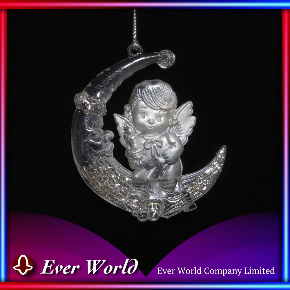 Creative Outdoor Christmas Decoration Christmas Acrylic Clear Pearl Moon Fairy Ornament