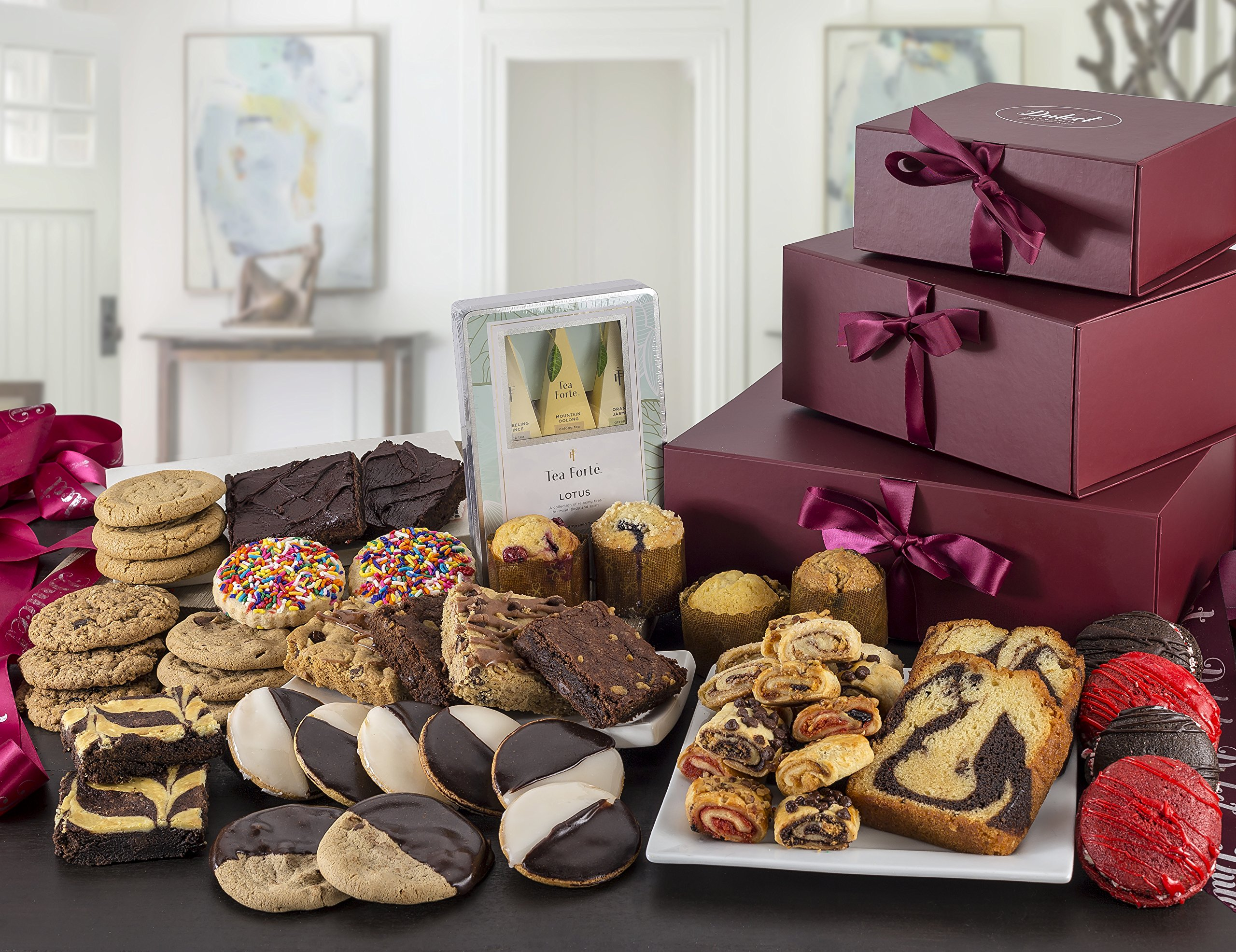 Dulcet's Ultimate Gift Tower Baskets Includes- Cookies, Whoopee Pies,Brownies, Rugelah, Muffins, Pond Cakes, Tea. Best Gift Idea!