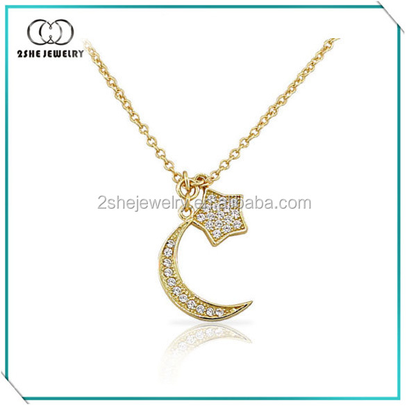Custom moon and star necklace for women