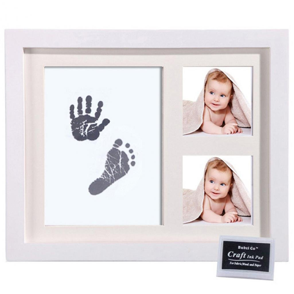 Little Rock Newborn Baby Handprint Footprint Non-Toxic Ink Pad Wood Photo Frame Memento
