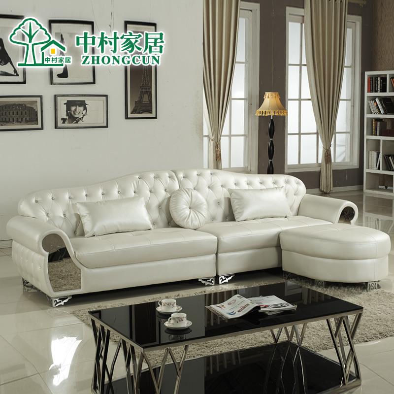 European Style Leather Sofa Residential Furniture Small