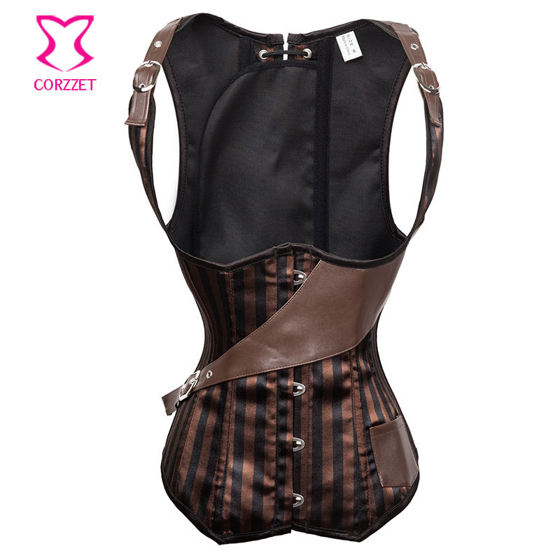 Brown Striped Satin Steel Boned Underbust Vest Corset Sexy Corpet Corselet Waist Training Gothic Clothing Corpetes E Espartilhos
