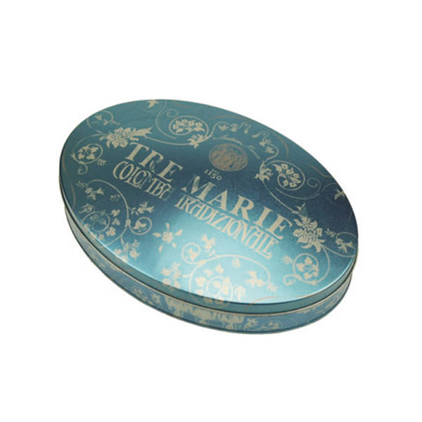 Oval shaped candy tin packaging boxes