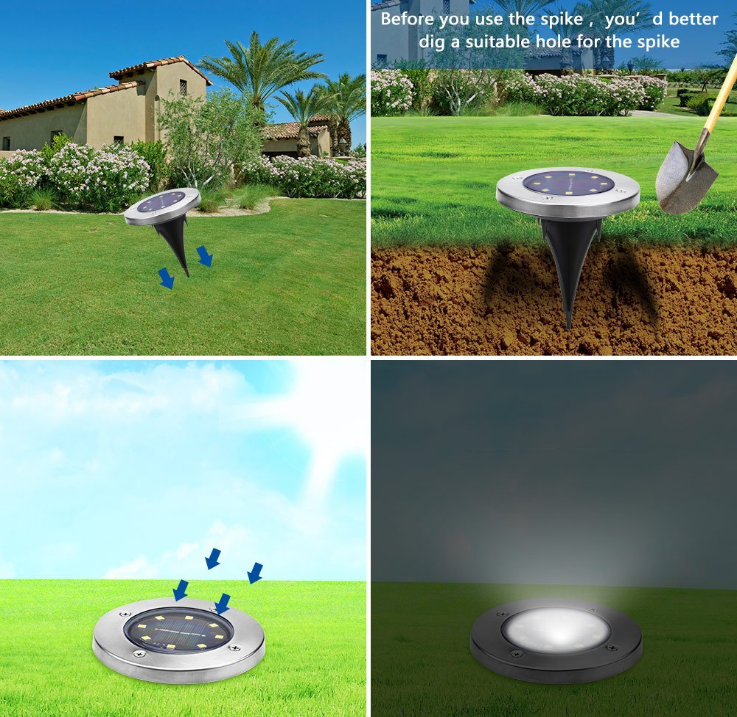 Wholesales Price 4Pack Outdoor Solar Lights Landscape Lighting 8 LED Ground Garden Patio Disk Light For Lawn