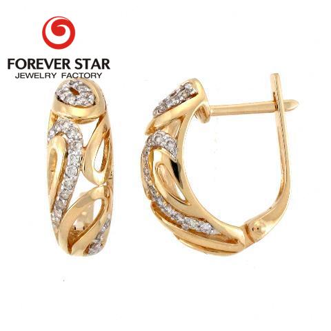 New Design Clip On Lock European Designs Women Earrings 18k Gold Light Weight Earring Jewelry