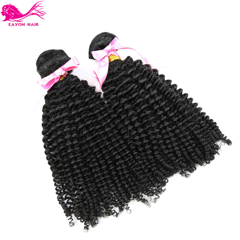 Mongolian Afro Kinky Curly Hair Extensions 2pcs/lot Unprocessed Kinky Curly Virgin Human Hair Weave Natural Black Eayon Hair