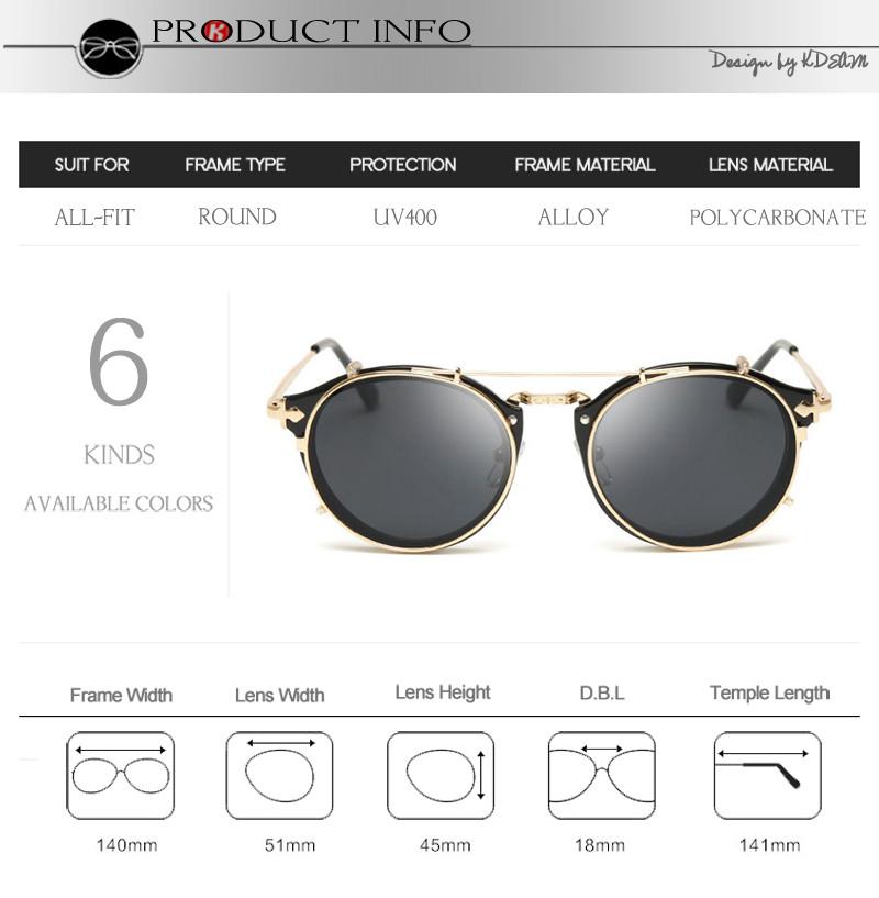 299624ce6b Kdeam Happy Clip On Sunglasses Hombres Gafas redondas extraíbles Las mujeres  tallan las gafas de sol de diseño con la marca de fábrica CE
