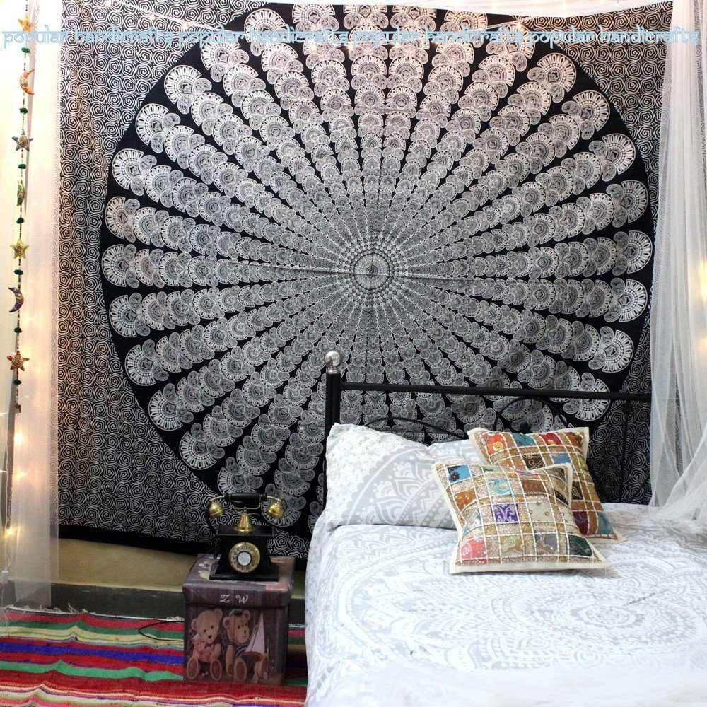 Popular Handicrafts tapestry wall hangings Hippie Mandala bohemian tapestry wall art Indian tapestry 84x90 Inches,(215cmsx230cms) Black and white