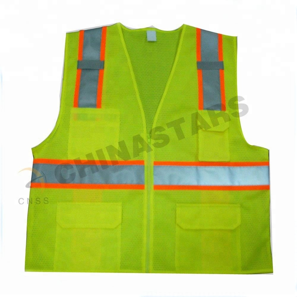 Reflective Polyester Mesh Vests With Pockets For Construction Worker In Summer Silk Screen Company Logo Printing Security & Protection