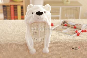 c4faee166ec Dongguan Manufacturer produce all kinds of plush animal head hat White  polar bear hat